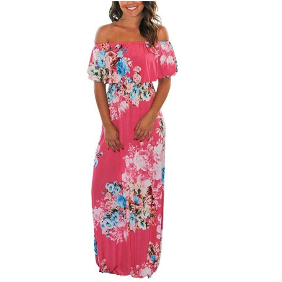Dream Theory Dresses & Skirts - Women Floral Print Off Shoulder Maxi Dress